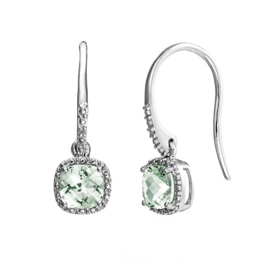 241eec20d Product Name: Sterling Silver Earrings w/ 6mm Cushion Cut Green Amethyst  and Diamond Accent ...