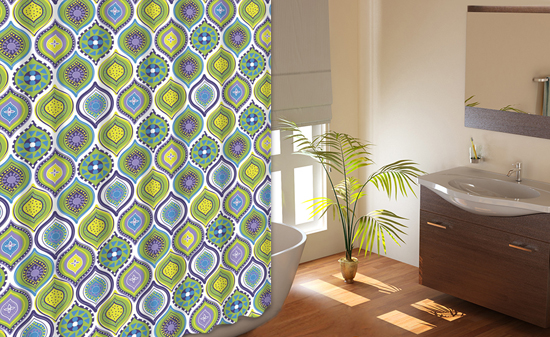 Olina Mosaic Shower Curtain With 12 Hooks