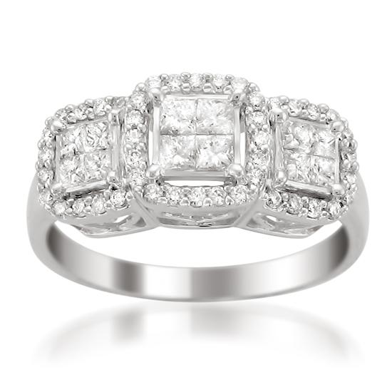 e3d3a7d9072e 14-Karat White-Gold 1-Carat Princess-Cut Diamond Engagement Ring (Z11-11996)