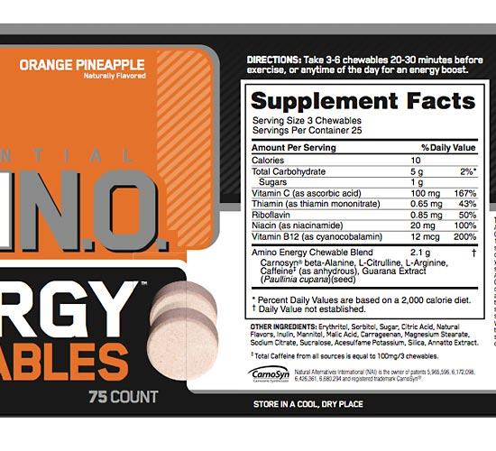 Essential Amino Energy Chewables Ingredients