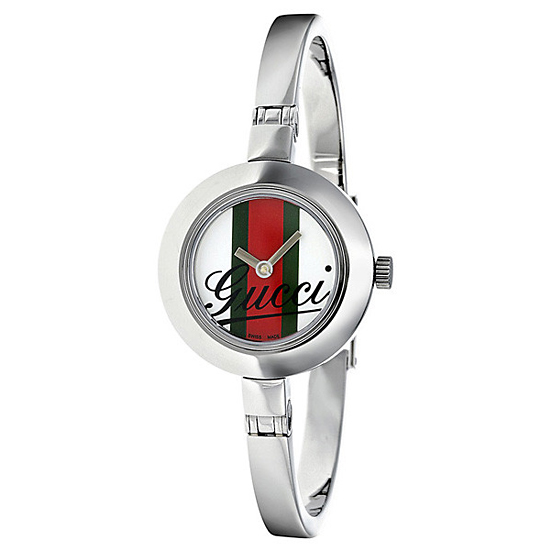 d5782311fc6  185 for Women s Gucci Watch with Stainless-Steel Band and White Green Red  Striped Dial  YA105520 ( 495 List Price)