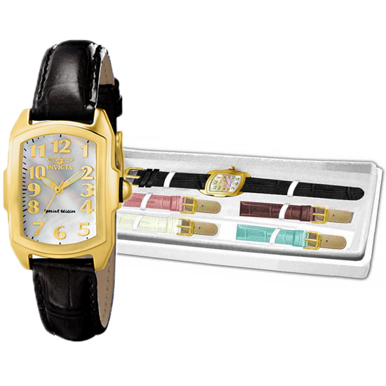 74.99 for Invicta Ladies Lupah Watch  Black Band Mother-of-Pearl Dial with  Gold Bezel (13834) ( 695 List Price) 2fd1a80d9fc