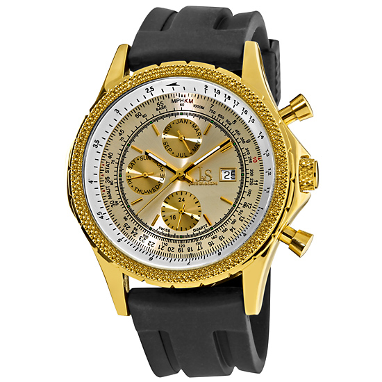 07f0d1d9b $54.99 for Joshua & Sons Men's Multifunction Rubber Strap Watch in Gold-Tone  (JS-10T-01) ($395 List Price)