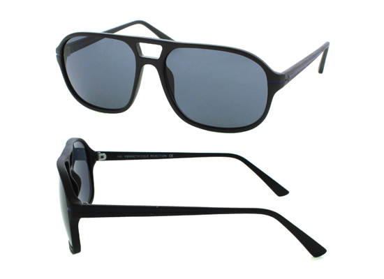 6e0eed5d8d13 Kenneth Cole Reaction Unisex Aviator Sunglasses with Flat-Top Brow, Black  Plastic Frames, Gray Stripes, and Smoke Lenses (KC2341) ($70 List Price)