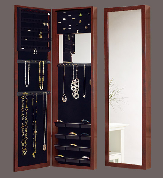 Over-the-Door Mirrored Jewelry Armoire