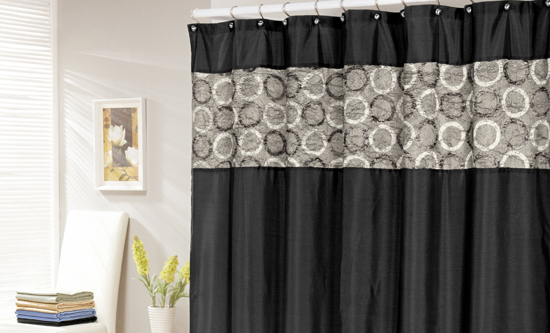 black and brown shower curtain. Faux Silk Shower Curtain In Black With Circles Or Waffle Textured Curtains