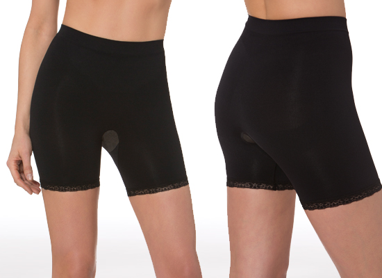 7dde7a731a82e Aha Moment by n-fini Anticellulite Low-Rise Short with Lace Trim in Black  (1181)
