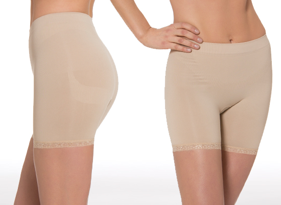 daff9ac613928 Aha Moment by n-fini Anticellulite Low-Rise Short with Lace Trim in Nude  (1181)