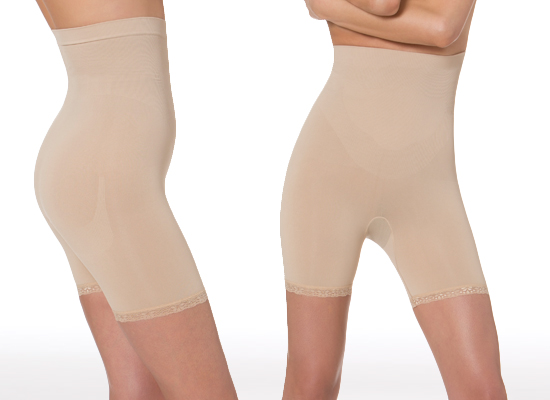 3e1a7256c26ac Aha Moment by n-fini Anticellulite High-Rise Short with Lace Trim in Nude  (1182)