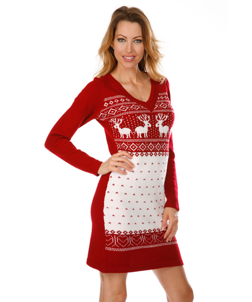 fd7fc8400b Boston Nordic Sweater Dress in Red and White