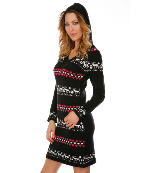 c7e2c3c6e2 Chicago Nordic Sweater Dress in Red and White