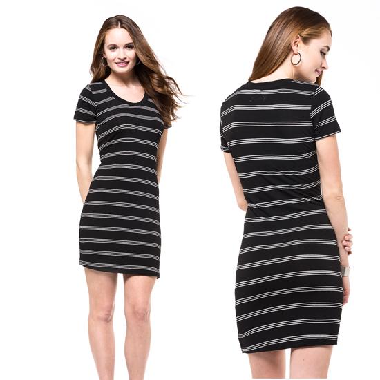 a5ccdc961ea2 Striped T-Shirt Dress in Black White