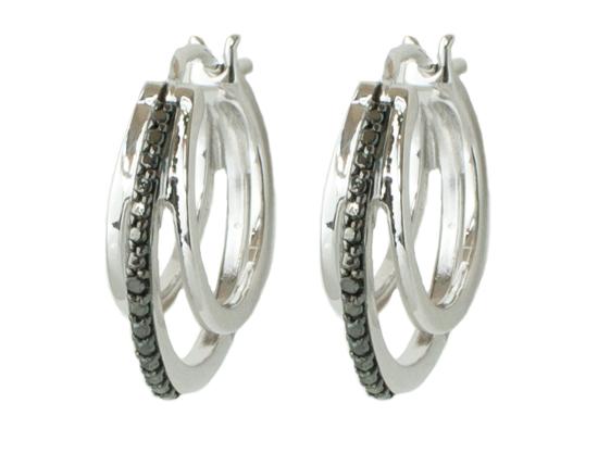 Macy S Black Diamond Hoop Earrings