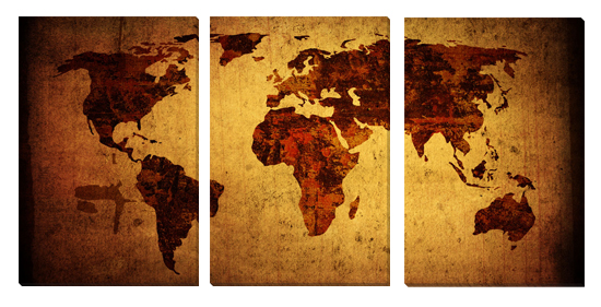 Gallery Wrapped Triptych World Maps