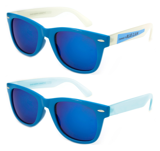 7dbef9580e2 ... Capri blue frame front with color changing temples. Non exposed temples  are milky color. When exposed to the sun