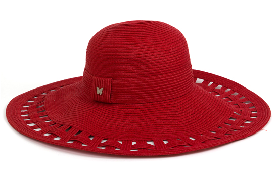 Cut Out Wide Brim Paper Straw Floppy Hat  Red 7b66709a52c