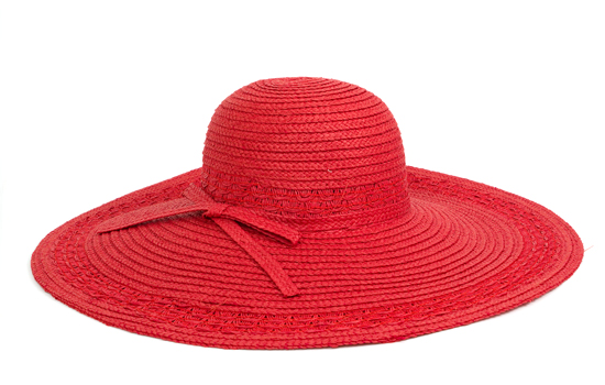 a63574bb Wide Brim Paper Straw Hat with Matching Tie Band: Red