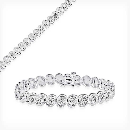 Sterling Silver and Diamond Tennis and Wheat Chain Bracelets