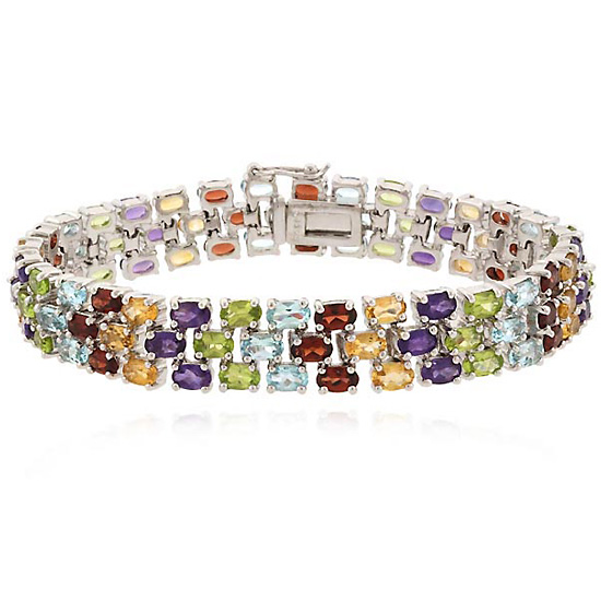 Three Row Gemstone Tennis Bracelets