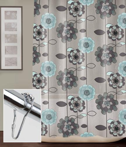 PEVA Curtain In Teal Patrizia Flower Print With Chrome Roller V Hooks